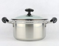 Glass Lid Stainless Steel Stock Pot / Cooking Pot