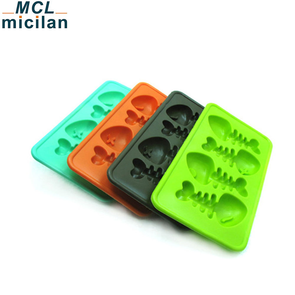 Personalized non-stick fish bone silicone ice cube tray high quality