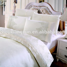 Satin material bed sheets 6pcs sets with lace bed comforter set