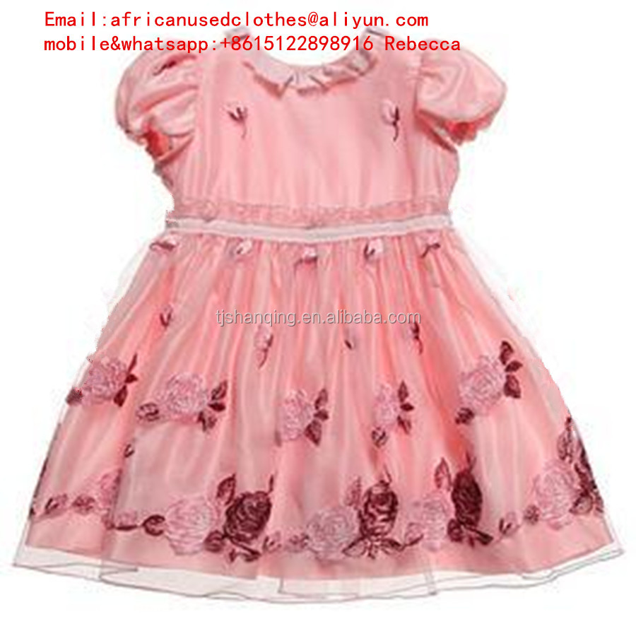 secondhand clothes/shinning used clothing, baby silk dress, exported container by container