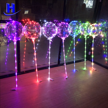 2018 factory wholesale clear 18inch bobo balloon with led light for party wedding event decoration
