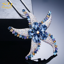 Chunky Stylish Starfish Multi Functional Brass Necklace with Austria Fancy Stone Removable Pendant Pin