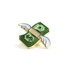 wholesale custom gold cute money shaped soft enamel badge