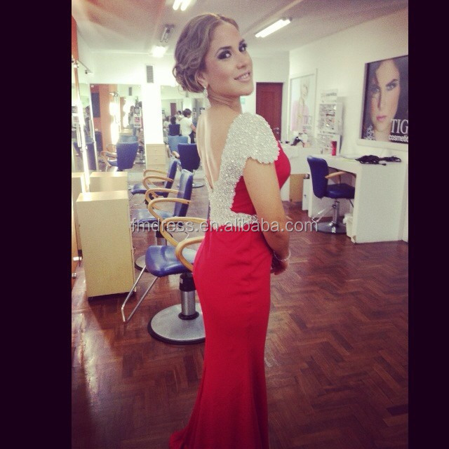 Sexy Beaded Cap Sleeve Scoop Satin Long Red Evening Dresses Mermaid 2015 Evening Gowns Sleeveless ED9141 Vestido De Festa Longo