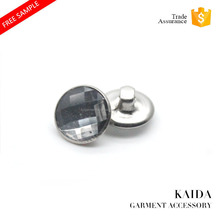 KAIDA eco-friendly crystal acrylic combination metal brass base shank button for garments sofa