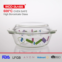 high borosilicate Glass casserole with colorful decal oven safe glassware