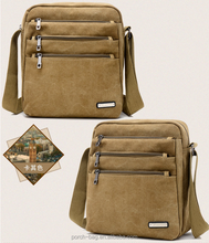 Mens Boys Vintage Canvas Shoulder bag waxed Canvas Messenger Bag for men