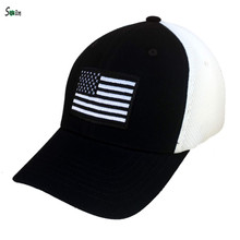 Cotton front panel breathable flag patch embroidery custom elastic fitted trucker mesh cap