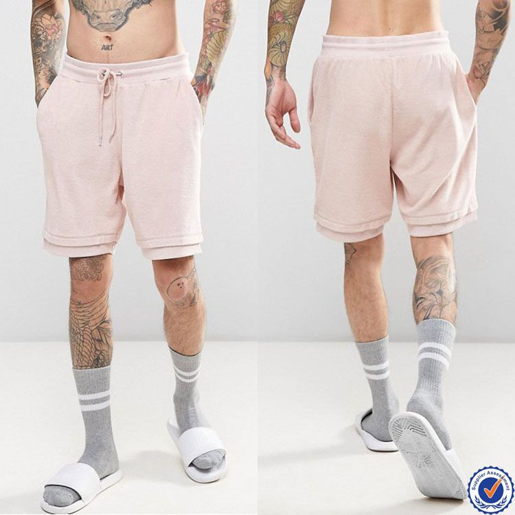wholesale blank sweat shorts for men drawstring waistband mens gym shorts in pink