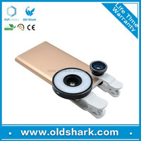 OldShark New arrived Mini LED Flash Fill Light 3in1 clip on Lens with filters for Cellphone Camera