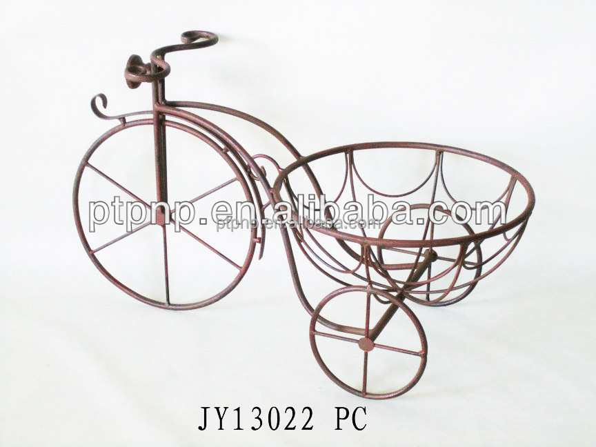 Reusable 2016newest cheap superior elegant decorative bicycle wrought iron flower pot holders