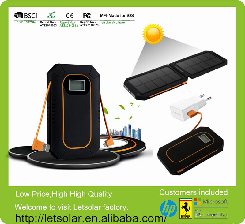 Hot! Letsolar LET54BH outdoor portable solar cell power bank folding solar panel charger for lenovo s920