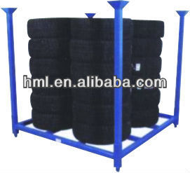 Steel metal Tire rack with 4 removable post