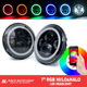 7inch 90w LED Headlight Bluetooth Control 7'' round for Jeeps RGB halo ring led headlights