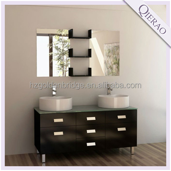 black double basin floor bathroom shelf vanity PA-2655