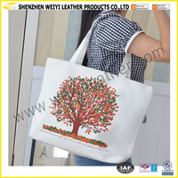 Hot New Products 2016 Canvas Beach Bag Printing Love Tree Beach Lady Canvas Tote Bag