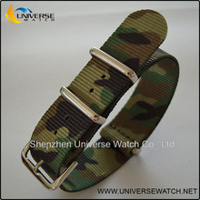 Army camo nylon nato watch band with metal hardware UN95