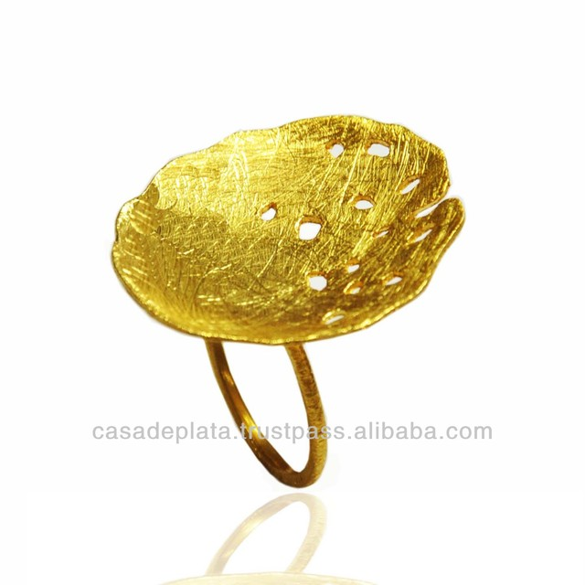 925 sterling silver gold plated jewelry ring