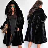 Desigual Clothes Women Winter Fox Fur Coat With Hooded Black Mink Fur Collar Winter Long Sleeve Black Long Lined Parka