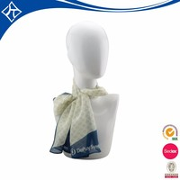 Custom painting white silk chiffon scarf,fashion design silk kerchief