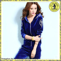 Classic polyester winter fitness sportswear velvet blue colored sportswear