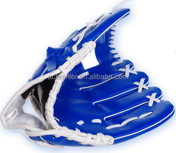 Cheap price 10.5inch blue color left hand PVC leather stock baseball gloves