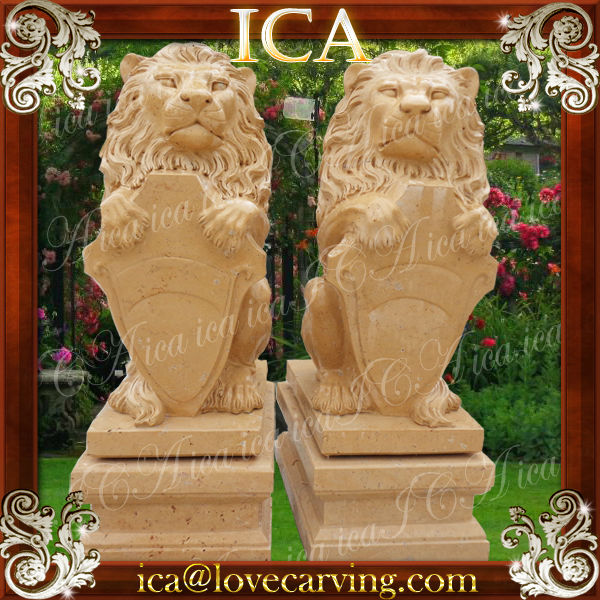 Hand carving lion Large garden marble life size stone animal statue