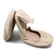 Comfort Round Toe Women Shoes Leather Ballerina Foldable Ballet Flats Portable Travel Flats Pocket Shoes