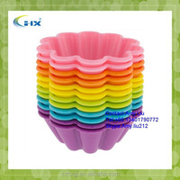 G-2015 Wholesale Bakerpan Silicone cupcake 12 cup, Truffle Cups, 6 Colors