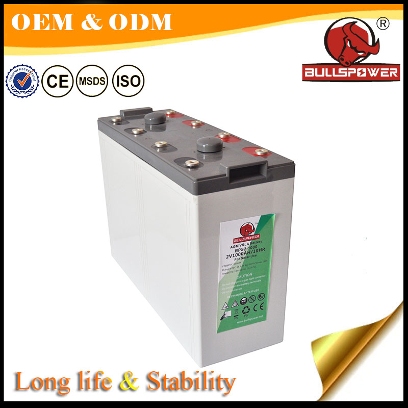 industrial solar 2v 1000ah lead crystal battery for solar system 10kw