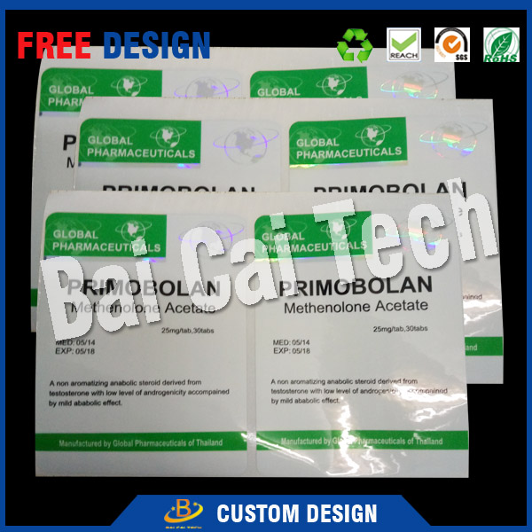 Dongguan supplier supply free sample 10ml vial label for Sustanon 250, glossy laminate finish 10ml vial label