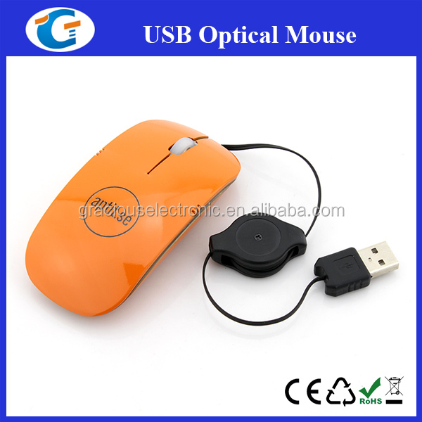 2013 best wired optical wired mouse with retractable cable