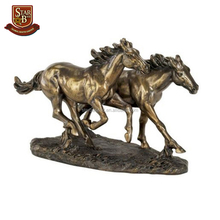 Home ornament double running wild horses statue japanese warrior figurines with low price