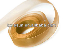 Holy Rich Copper Yellow Silk Organza Ribbon for Devout Indian Buddha Day