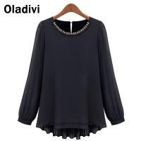 5XL Plus Size Lady Office Shirt 2015 New Fashion Women Clothing European Style Chiffon Blouse Long Sleeve Pleated Back Tops Tees
