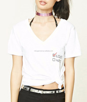 MIKA27338 V Neck Letter Printed Tee Casual Women T Shirt Apparel Manufacture in China