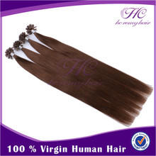 Zero Pollution And Lower Cost Popular Style Brazilian Straight Virgin Keratin Nail Tip Hair Extensions