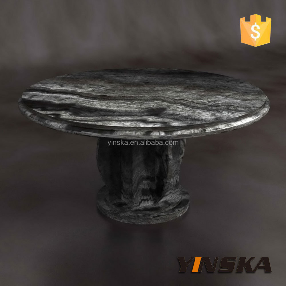 Stone Dining Table, Black Round Marble Dinner Table