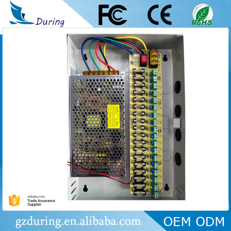 High quality CE ROHS FCC certificated 24V 5A 120W 18ch CCTV camera switching power supply with 18 channels