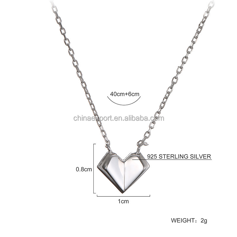 New Jewelry 925 Sterling Silver Necklaces With 3D Heart Pendant