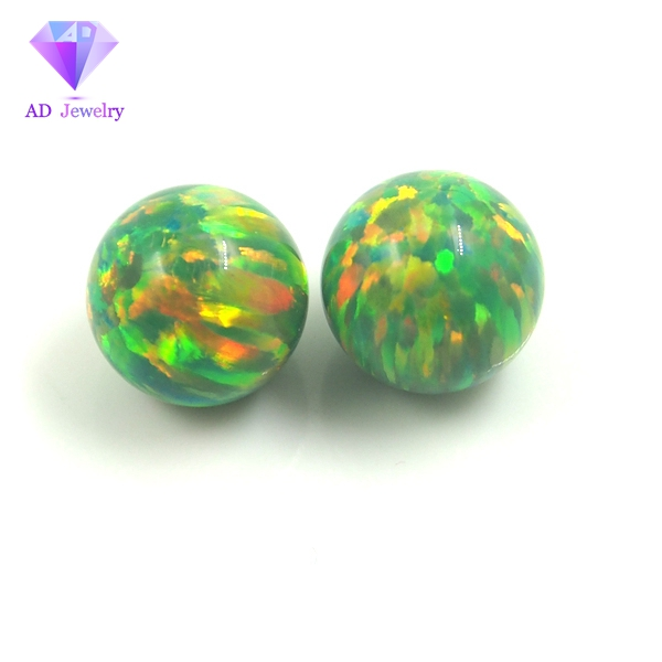 Man made round green opal beads loose opal gemstone