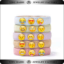 Daihe custom emoji face leather bracelet ginger snaps interchangeable jewelry