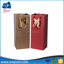 Professional made cheap wine paper bag with decoration