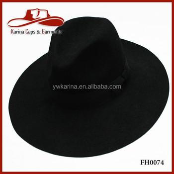 Fashion Big Wide Brim Wool Felt Fedora Hats Black Men Felted Wool Hats Buy Fedora Hats Men