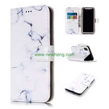 Retro Marble Flip PU Leater Stand Case for iPhone X