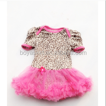 Wholesale Princess Baby&Girl Cotton Romper With Petti Skirt Chiffon Cheap Fancy Bodysuit Chiffon Cute Infant Suit With Bow-Tie