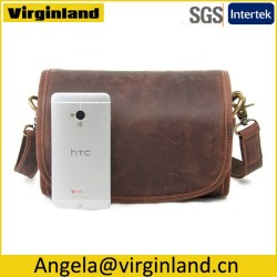 Wholesale High Quality Classic Brown Genuine Pure Real Leather Bag Manufacturer