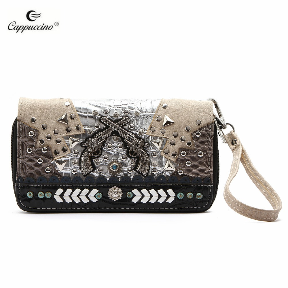 2017 Fashion Lady Designer Western Pistol Zip Around Studded Wallet