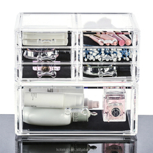 Transparent acrylic crystal fashion 24x14.5x11cm cosmetic lipstick case organizer jewelry storage box drawer holder makeup case
