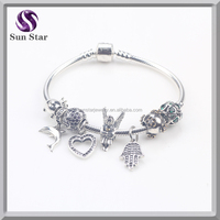 2015 Decorative silver 925 dolphin angel hasma hand charm beads compatible DIY bracelet jewelry factory outlet